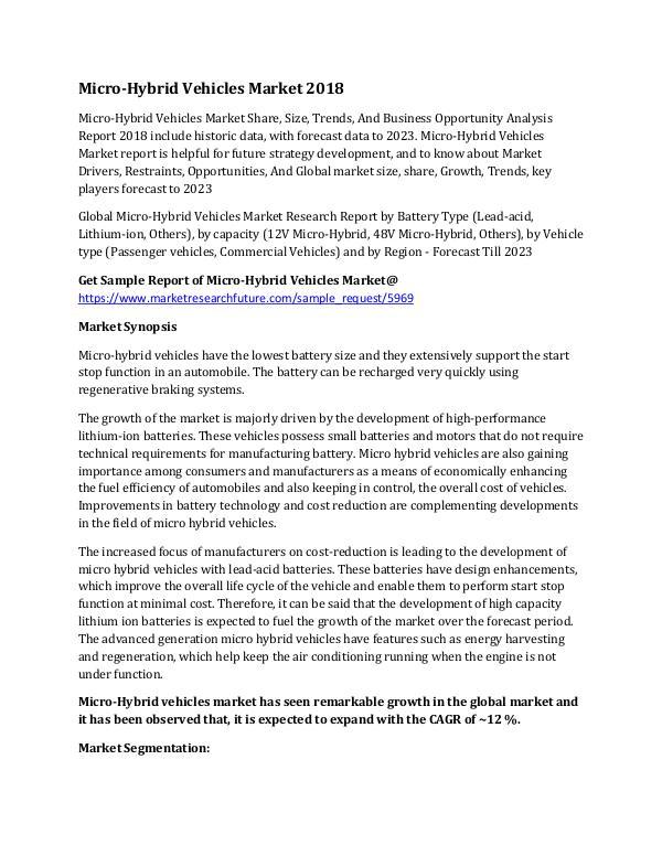 Micro-Micro-Hybrid Vehicless Market Research Repor