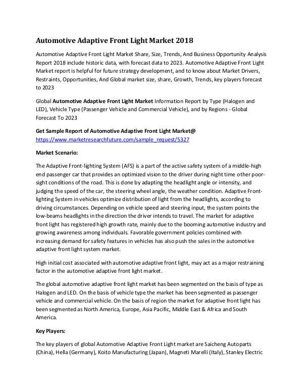 Automotive Adaptive Front Light Market Research Re