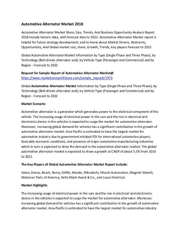Global Automotive Alternator Market Research Repor