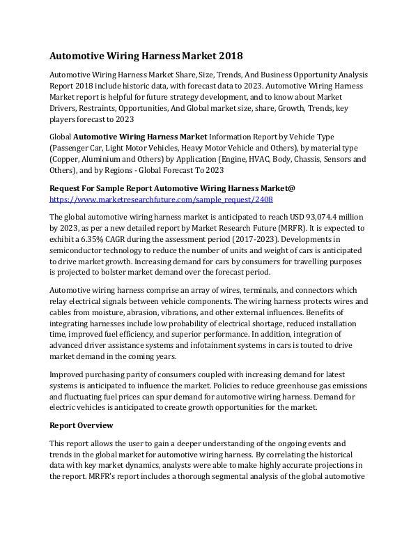 Automotive Wiring Harness Market 2018