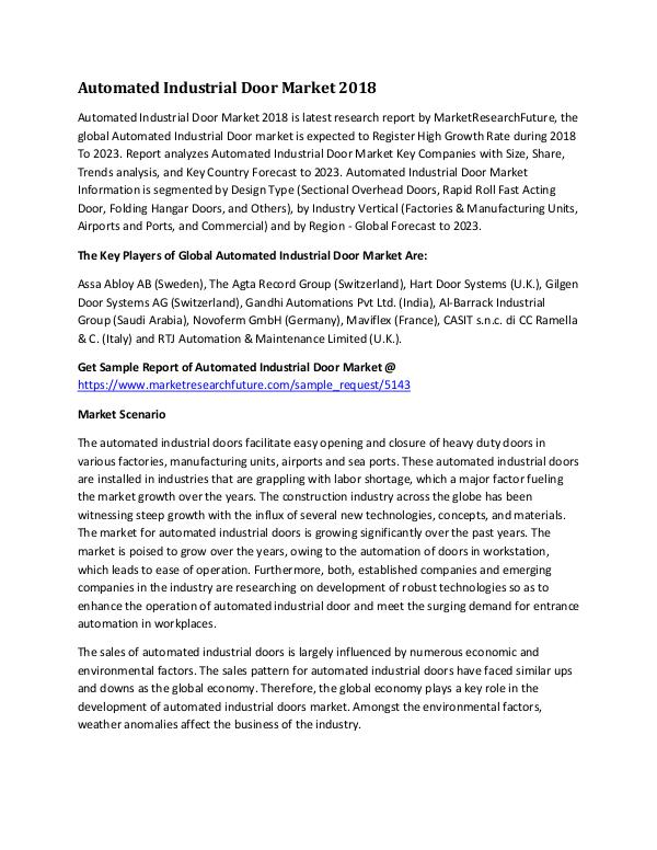 Automated Industrial Door Market Research Report -