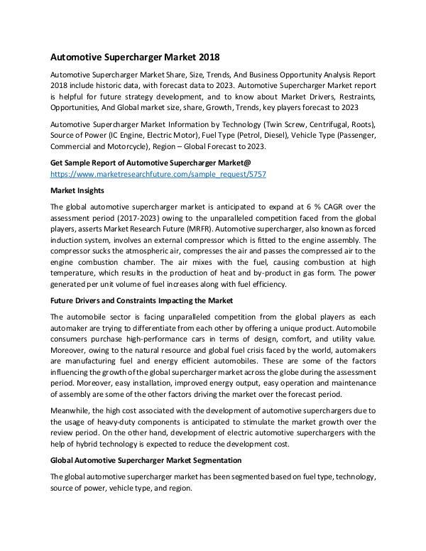 Global Automotive Supercharger Market_Written by T