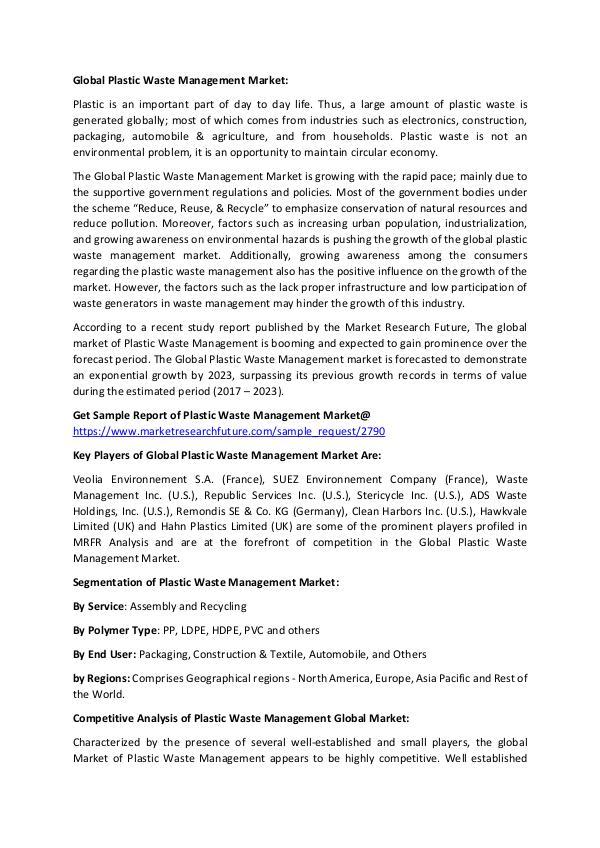 Press Release - Global Plastic Waste Management Ma