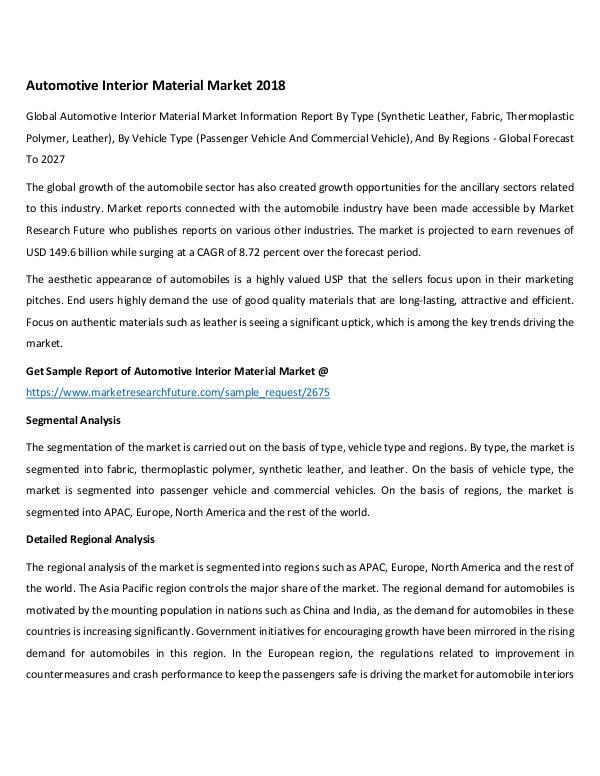 Global Automotive Interior Material Market