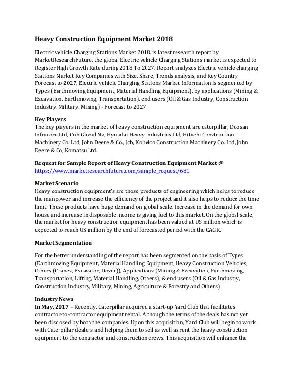 Global Heavy Construction Equipment Market Researc