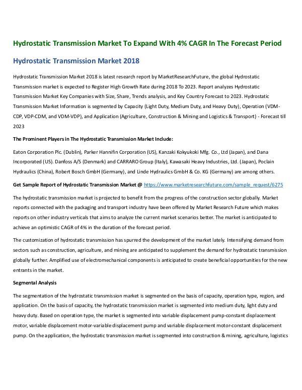 Hydrostatic Transmission Market191218