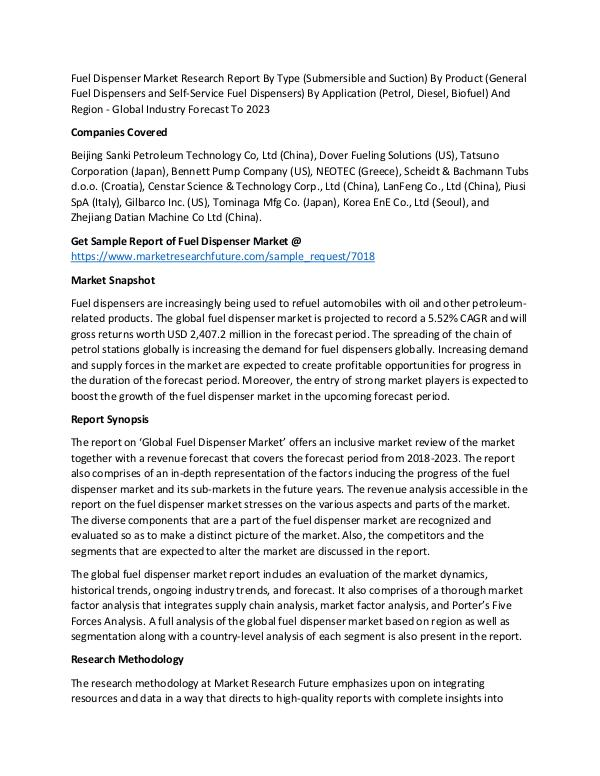 Fuel Dispenser Market - Global Industry Forecast T