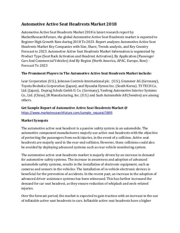 Automotive Active Seat Headrests Market Research R