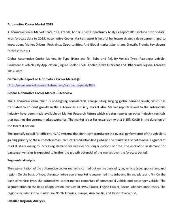 Global Automotive Cooler Market