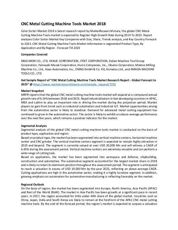 CNC Metal Cutting Machine Tools Market Research Re