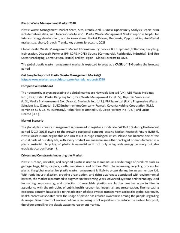 Global Plastic Waste Management Market_Written by