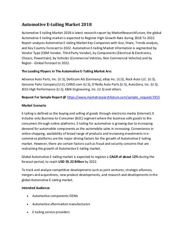 Automotive E-tailing Market Research Report