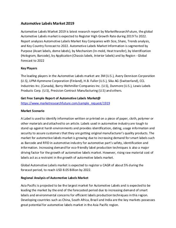 Automotive Labels Market Research Report - Global