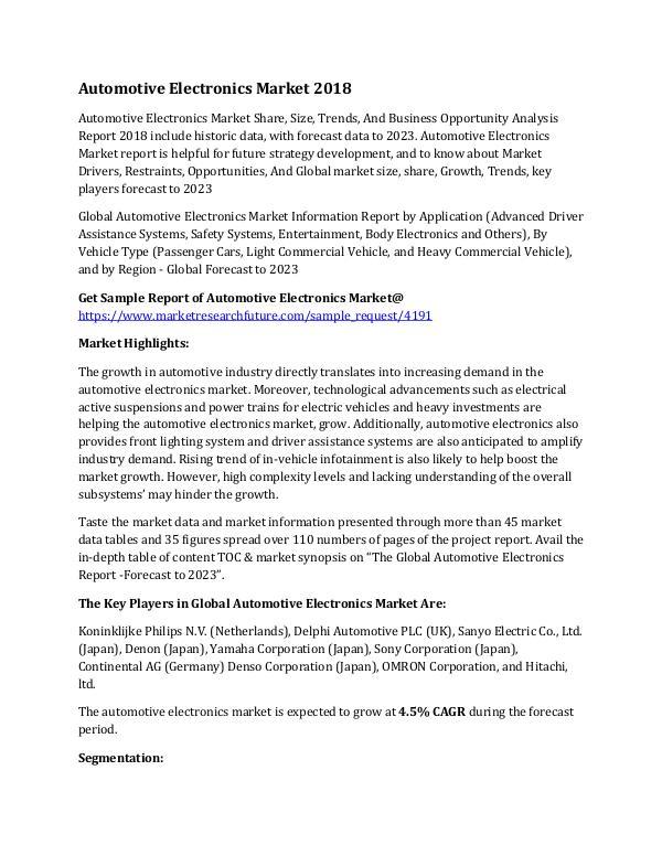 Automotive Electronics Market Research Report - Gl