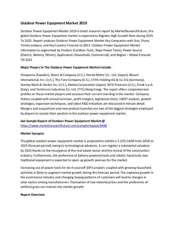 Outdoor Power Equipment Market Research Report – F