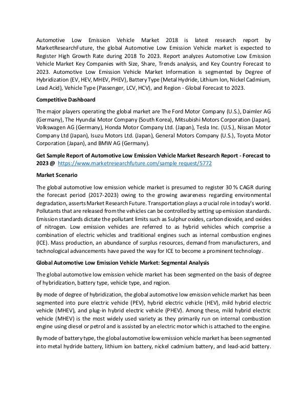 Global Automotive Low Emission Vehicle Market_Writ
