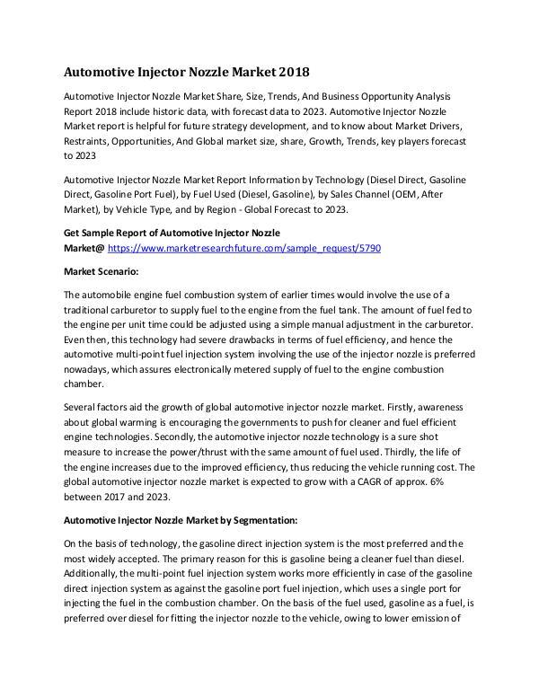 Automotive Injector Nozzle Market Research Report