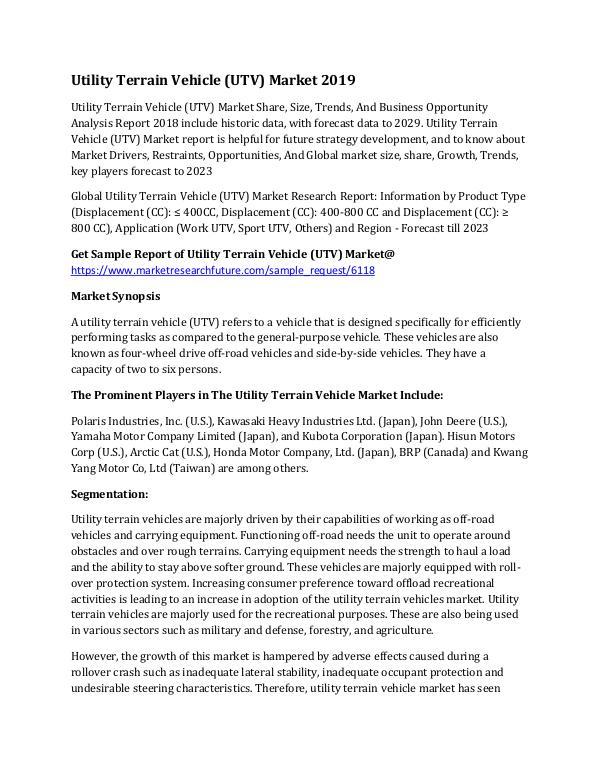 Utility Terrain Vehicle (UTV) Market Research Repo