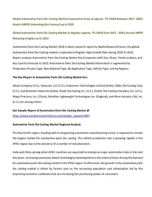 Global Automotive Parts Die Casting Market_Written