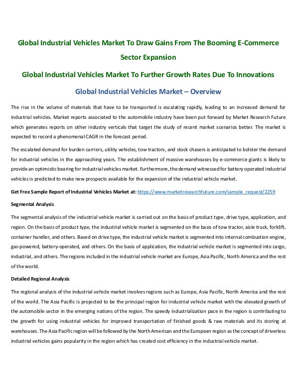 Asia Pacific Blood Glucose Test Strip Packaging Market Research Repor Global Industrial Vehicles Market by Aafreen