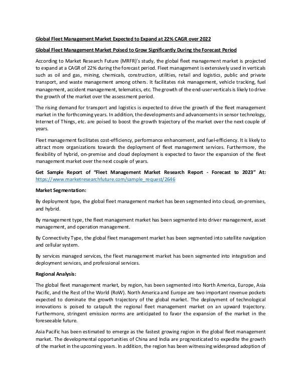 Asia Pacific Blood Glucose Test Strip Packaging Market Research Repor Fleet Management Market040319