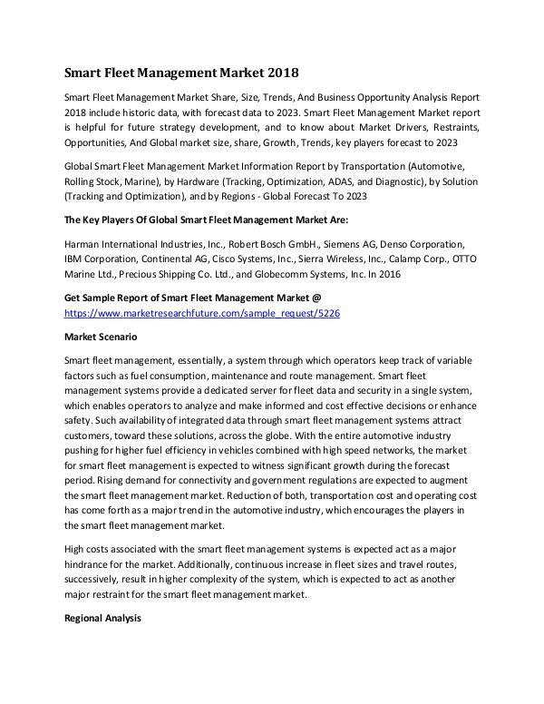 Smart Fleet Management Market Research Report - Gl