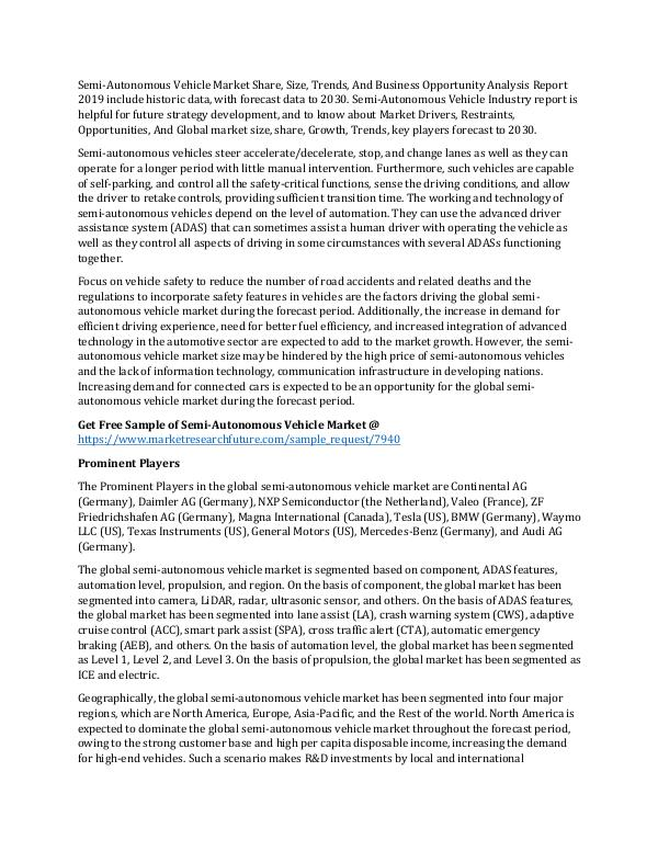 Semi-Autonomous Vehicle Market Research Report Glo