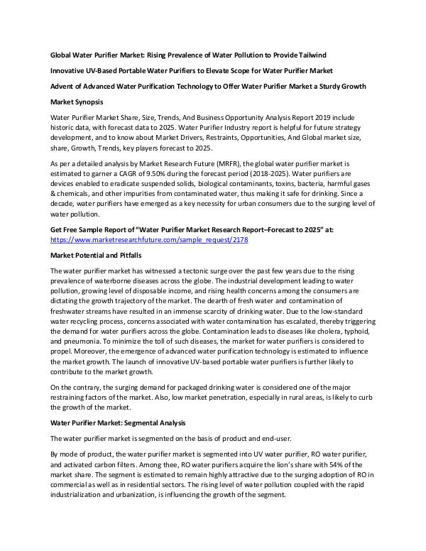 Global Water Purifier Market_Written by Trisha