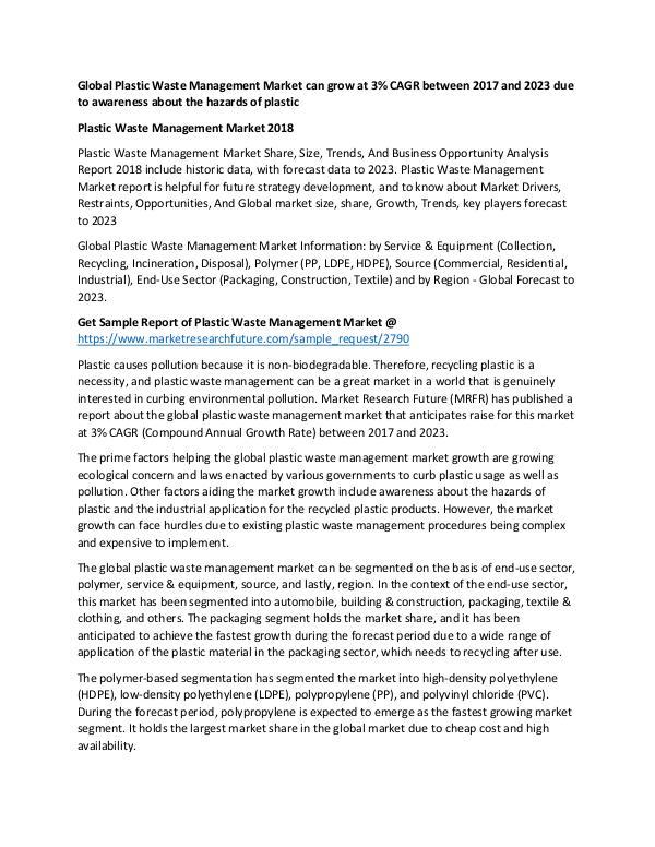 Asia Pacific Blood Glucose Test Strip Packaging Market Research Repor Plastic Waste Management Market PR