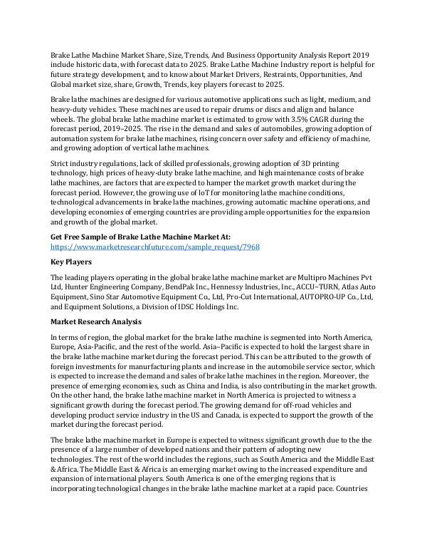 Brake Lathe Machine Market Research Report - Globa