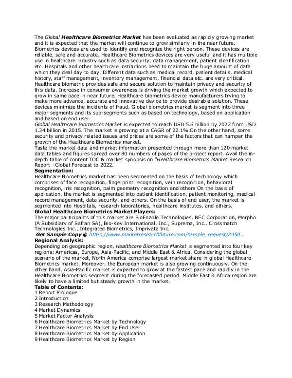 Healthcare Publications Healthcare Biometrics Market