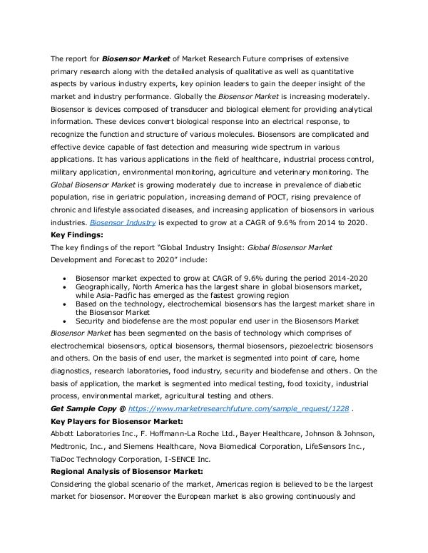 Healthcare Publications Biosensor Market