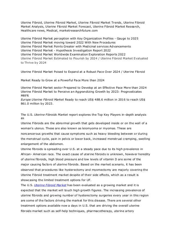 Healthcare Publications Uterine Fibroid Market