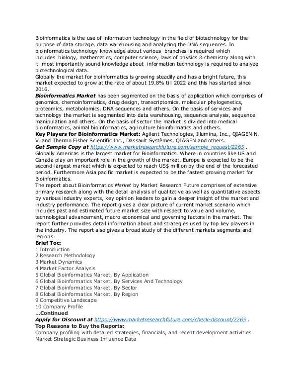 Healthcare Publications Bioinformatics Market