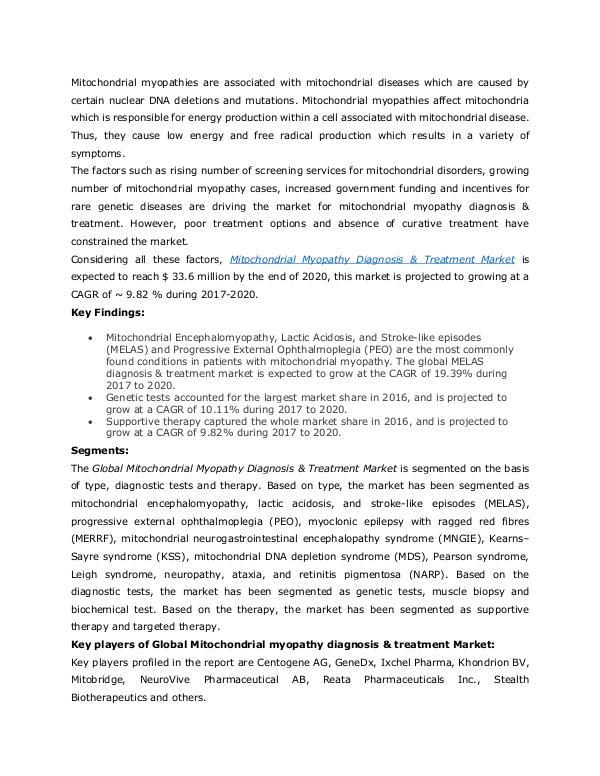 Mitochondrial myopathy diagnosis & treatment Marke