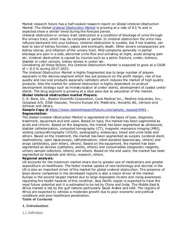 Ureteral Obstruction Market