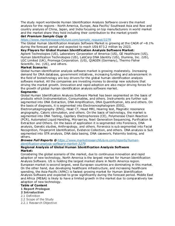 Human Identification Analysis Software Market