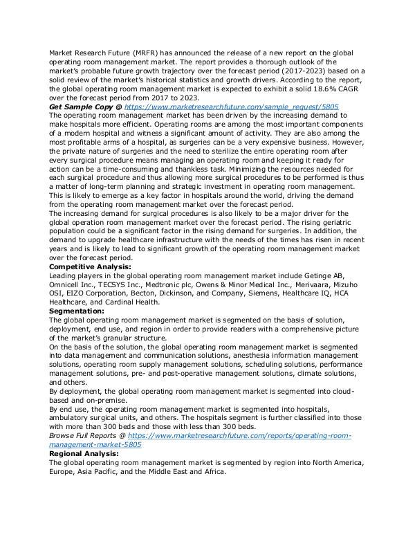 Operating room management Market 2019 – Global Ind