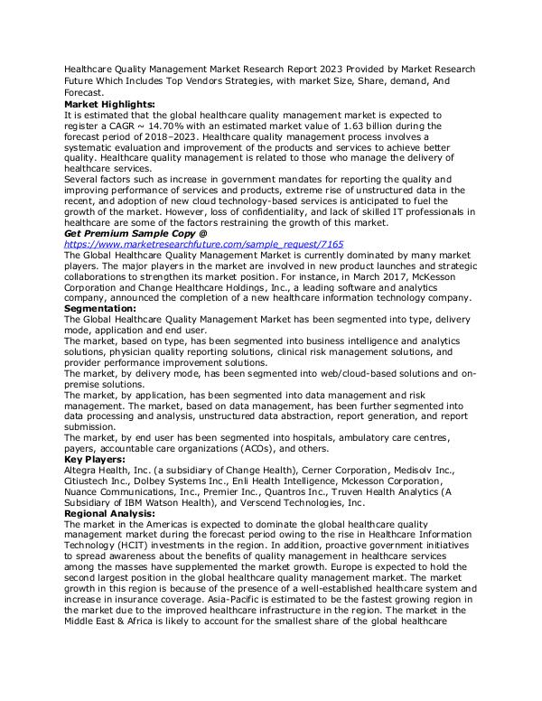 Healthcare Quality Management Market