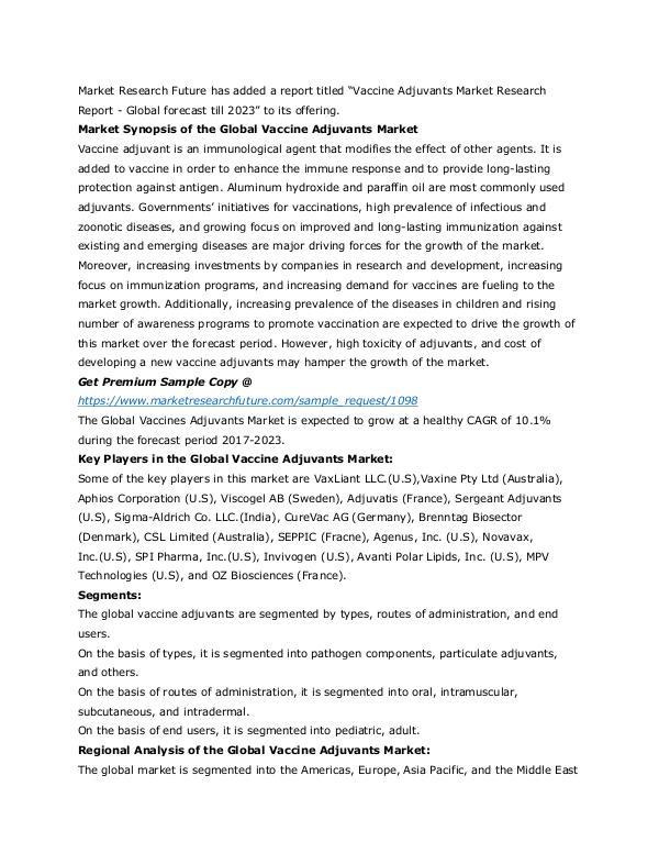 Vaccine Adjuvants Market