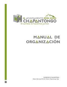 Manual de Organización Chapantongo, Hgo. 2016 -2020
