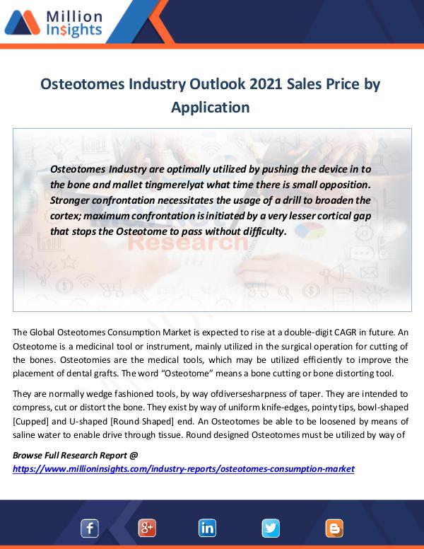 Market Revenue Osteotomes Industry Outlook 2021 Sales Price
