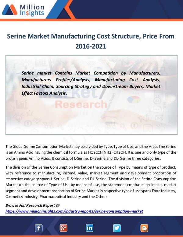 Market Revenue Serine Market Manufacturing Cost Structure