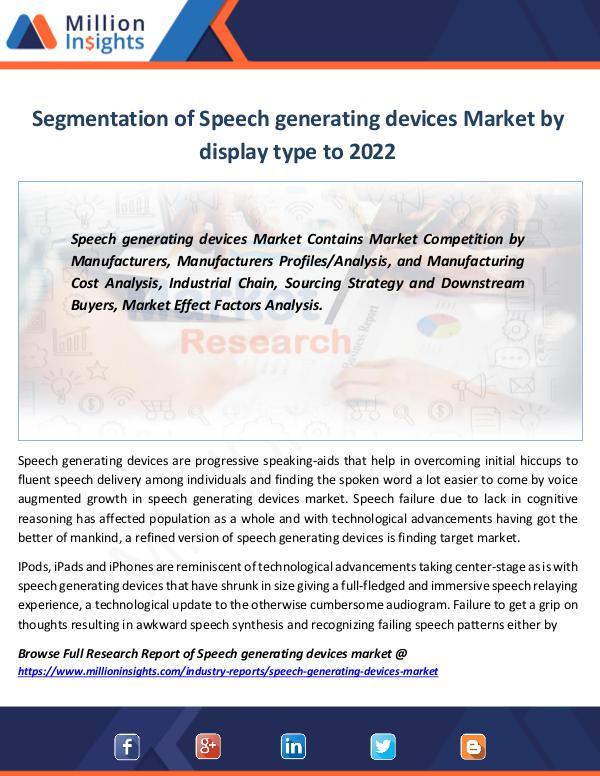 Market Revenue Speech generating devices Market Report to 2022
