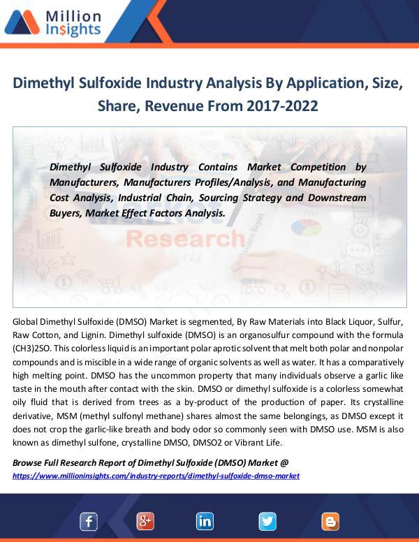 Market Revenue Dimethyl Sulfoxide Industry Analysis by 2022