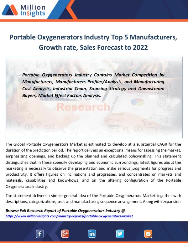 Market Revenue Portable Oxygenerators Industry Report By 2022