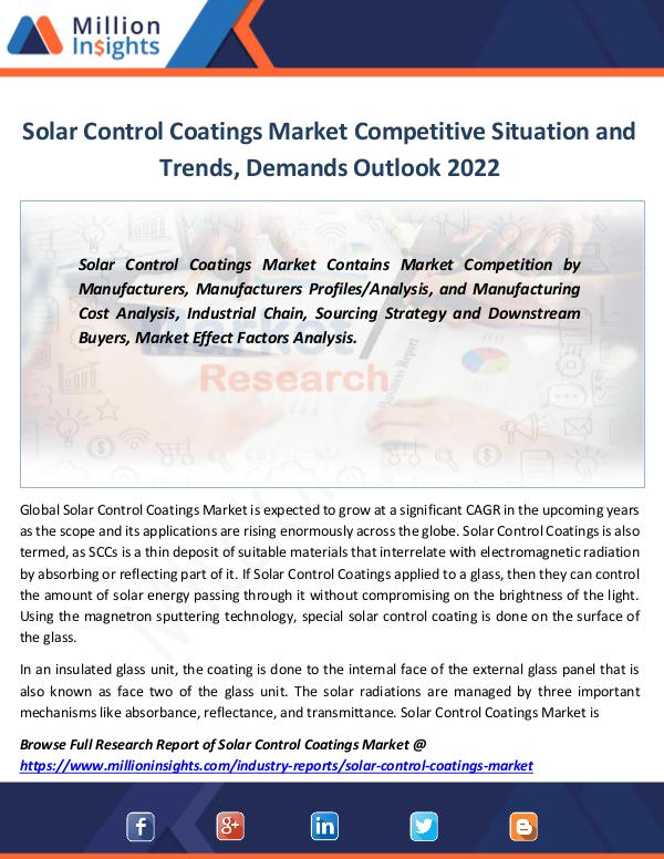 Market Revenue Solar Control Coatings Market Size, share 2022