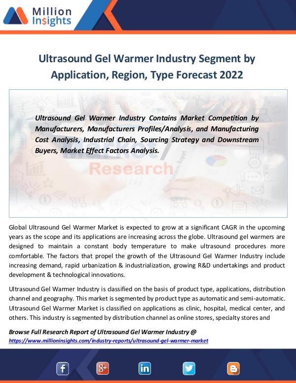 Market Revenue Ultrasound Gel Warmer Industry Segment by 2022