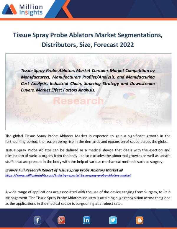 Market Revenue Tissue Spray Probe Ablators Market Segmentations