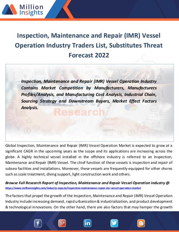 Market Revenue Inspection, Maintenance and Repair (IMR) Vessel